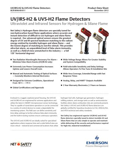 UV/IRS-H2 and UVS-H2 Flame Detectors