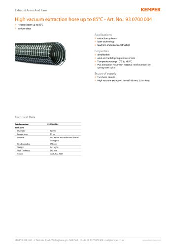 High vacuum extraction hose up to 85°C - Art. No.: 93 0700 004