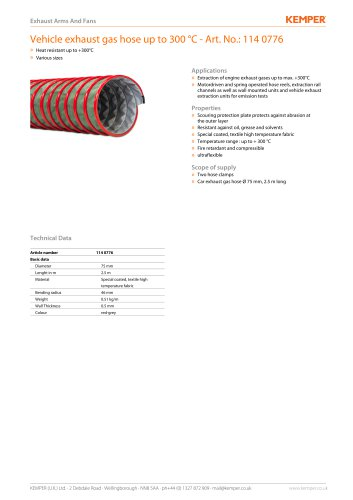 Vehicle exhaust gas hose up to 300 °C - Art. No.: 114 0776