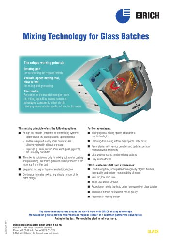 Mixing Technology for Glass Batches
