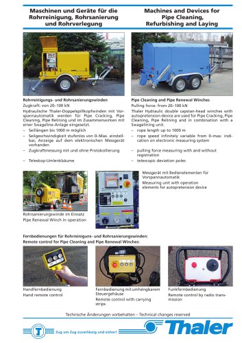 Machines and Devices for Pipe Cleaning, Refurbishing and Laying