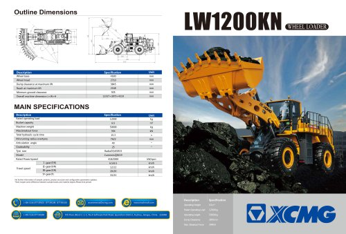 XCMG 12 Ton Wheel Loader LW1200KN