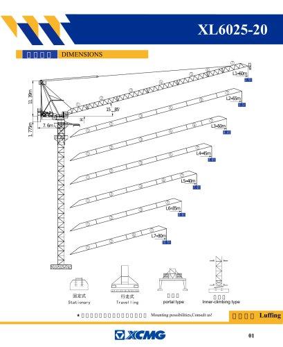 XCMG 20 ton XL6025-20 rc Tower Crane
