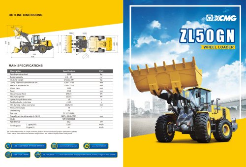 XCMG 5Ton Wheel loader ZL50GN construction