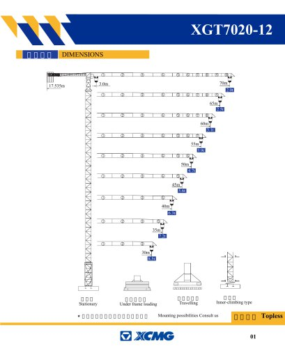 XCMG XGT7020-12 12 ton small construction Tower Crane