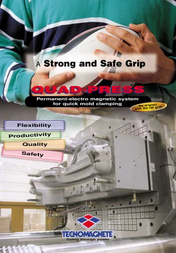 Quad-Press Permanent-electro magnetic system for quick mold clamping