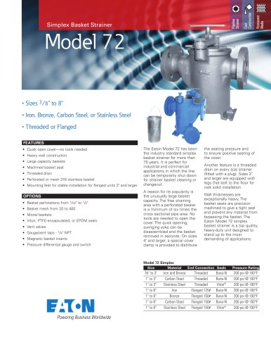 Eaton Model 72 Straight Flow Simplex Basket Strainer