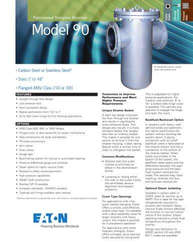 Eaton Model 90 Fabricated Simplex Pipeline Strainer