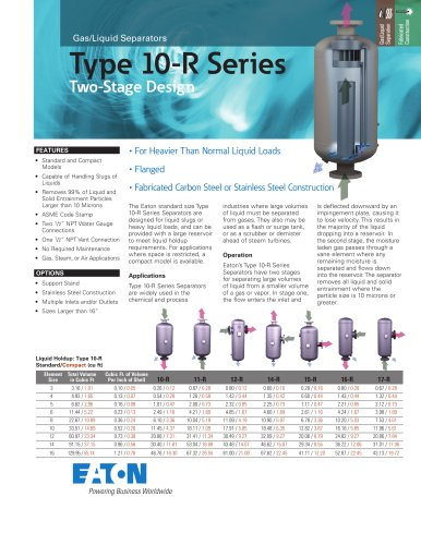 Type 10-R Series Gas/Liquid Separators