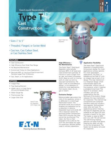 Type T Gas/Liquid Separators - Cast Construction