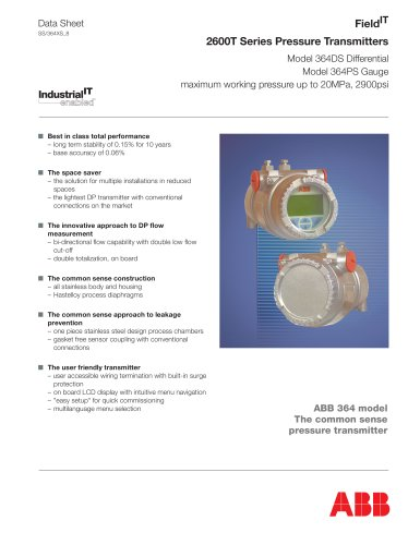 364DS/364PS Differential/Gauge Pressure  transmitter