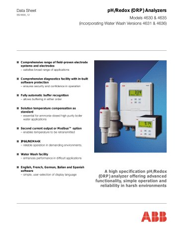 pH/Redox (ORP) Analyzers Models 4630 & 4635 (incorporating Water Wash Versions 4631 & 4636)