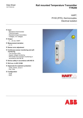 TTR200 - Rail mounted Temperature Transmitter, HART, Pt100 (RTD), thermocouples, electrical isolation