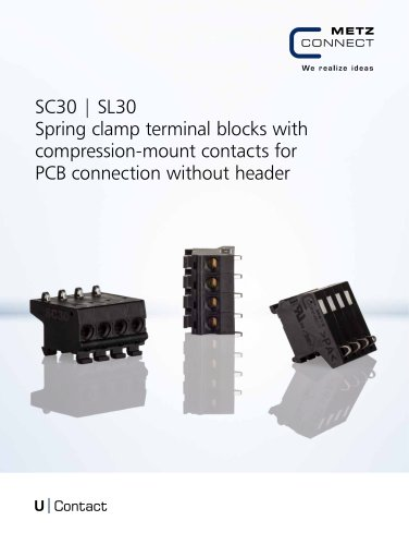 U|Contact - SC30 | SL30 Spring clamp terminal blocks with compression-mount contacts for PCB connection without header