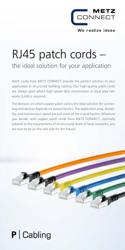 RJ45 patch cords – the ideal solution for your application