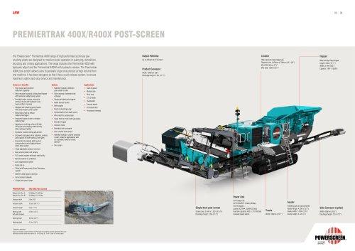 Powerscreen Premiertrak 400X & R400X Post-screen Brochure