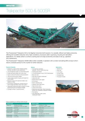 Powerscreen Trakpactor 500 & 500SR Impact Crusher