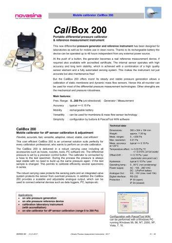 Catalogue 2017 - CaliBox 200 pressure calibrator