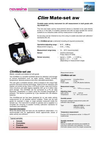 Catalogue 2017 - ClimMate-Set-aw water activity meter