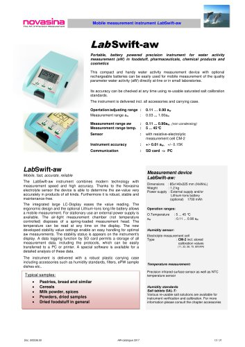 Catalogue 2017 - LabSwift-aw water activity meter