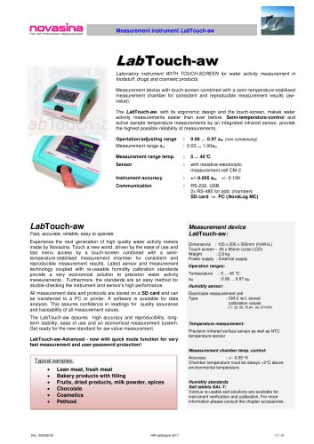 Catalogue 2017 - LabTouch-aw water activity meter