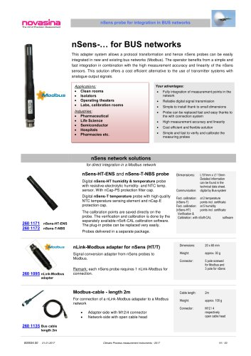 Catalogue 2017 - nSens RH/T probe with Modbus adapter