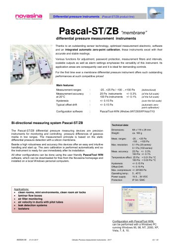 Catalogue 2017 - Pascal-ST/ZB differential pressure transmitters