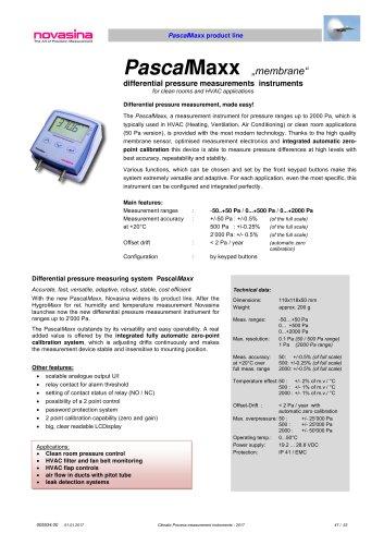 Catalogue 2017 - PascalMaxx HVAC differential pressure transmitters