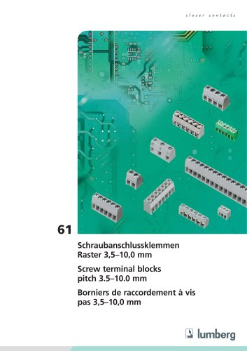 Series 61, Screw terminal blocks, pitch 3.50/3.81/5.00/5.08/10.00 mm