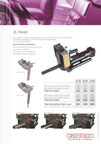 JL Mixing Head: a new concept  for the mixing of the components, the turbolence necessary to mix the chemicals is created by speed