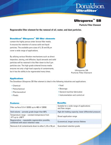 Ultraporex SB Particle Filter Element