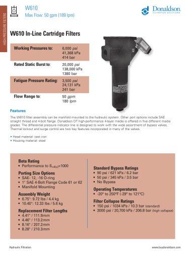 W610 In-Line Cartridge Filters