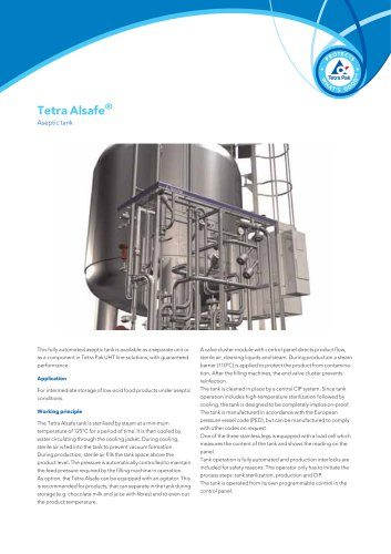 Tetra Alsafe® Aseptic tank