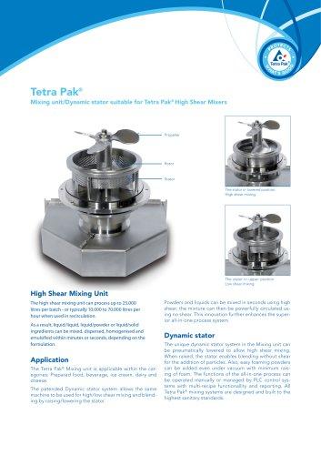 Tetra Pak® Mixing unit/Dynamic stator suitable for Tetra Pak® High Shear Mixers