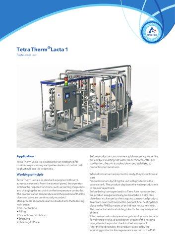 Tetra Therm®Lacta 1 - Pasteuriser unit