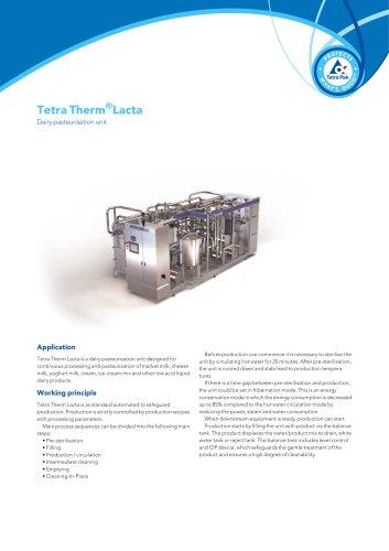 Tetra Therm®Lacta - Dairy pasteurisation unit
