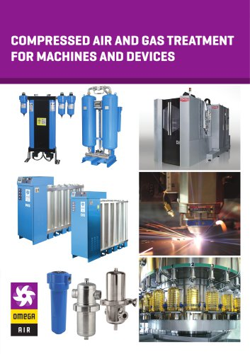 Compressed air and gas treatment for machines and devices