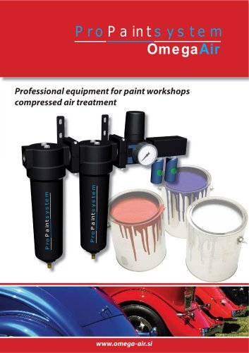 Professional equipment for paint workshops compressed air treatment