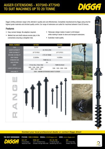 Auger Extensions - XO75HD-XT75HD