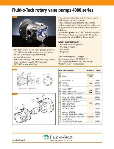 Fluid-o-Tech rotary vane pumps 4000 series