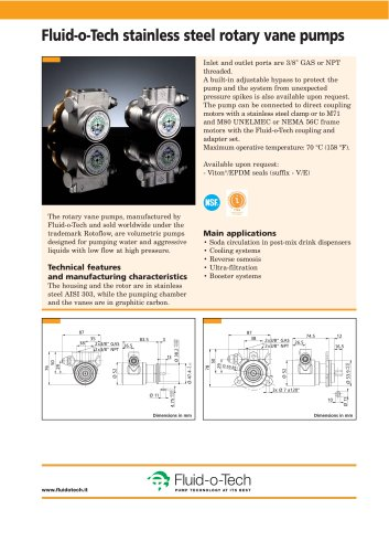 Fluid-o-Tech stainless steel rotary vane pumps