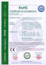 RoHS certificate for LMP633 submersible level transmitter
