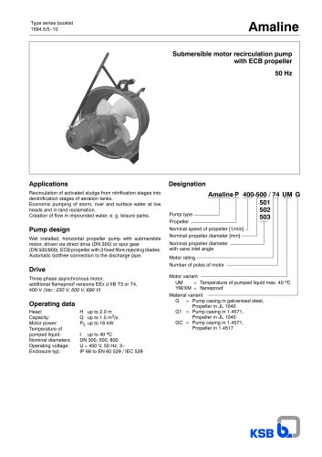 Type series booklet Amaline 50 Hz