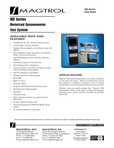 MD Series Motorized Dynamometer Test System