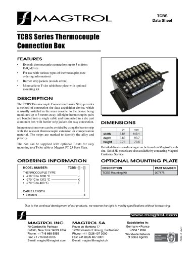 TCBS Series Thermocouple Connection Box