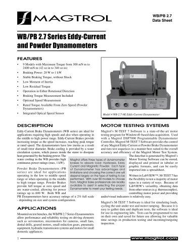 WB/PB 2.7 Series | Eddy-Current and Powder Dynamometers