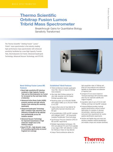 Thermo Scientific  Orbitrap Fusion Lumos Tribrid Mass Spectrometer