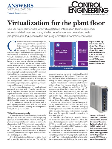 Virtualization for the plant floor