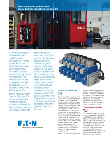 Electohydraulic mobile valve gives Bulmor Industries GmbH a lift