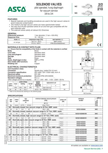 SOLENOID VALVES pilot operated, hung diaphragm for vacuum service 3/8 to 3/4